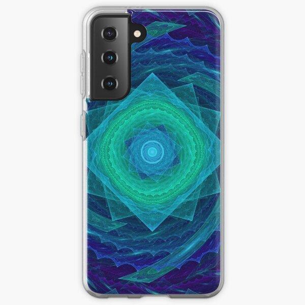 Sinusoidal Sawblade Mandala in Blue-Green Colors Samsung Galaxy Soft Case