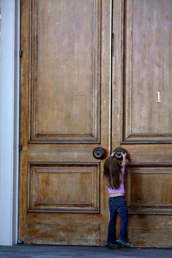 Little girl at a big door. by ceramicmatt