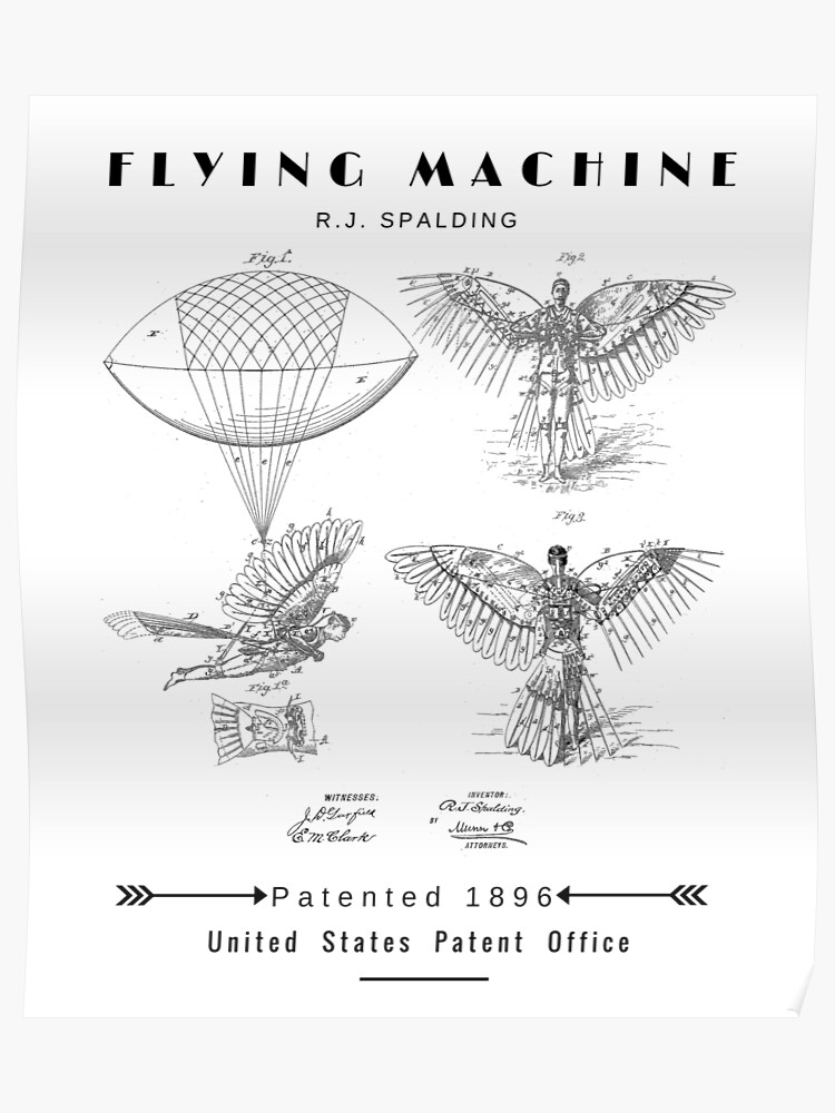 88257a90 Flying Machine With Wings 1896 Invention Patent Print Art