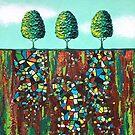 Tiny Emerald Green Treescape no.1 by Lisafrancesjudd
