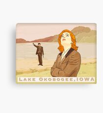 X files lake Okobogee Iowa, Scully and Mulder ( more 70 designs XFiles in my shop) Canvas Print