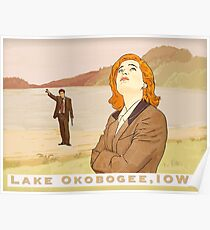 X files lake Okobogee Iowa, Scully and Mulder Poster