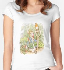 PETER RABBIT, Nursery Characters, Peter Rabbit, eating radishes, The Tale of Peter Rabbit Women's Fitted Scoop T-Shirt