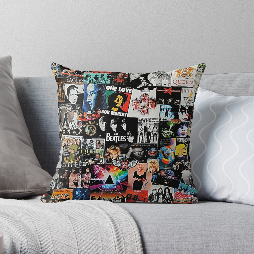Rock Collage Throw Pillow