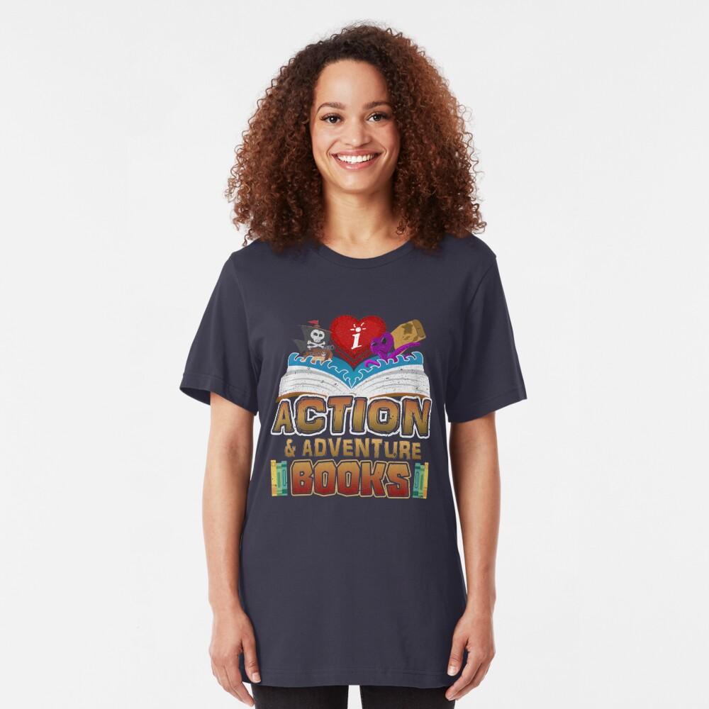 I Love Action & Adventure Books Slim Fit T-Shirt