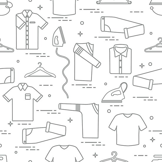 Pattern with irons, hangers and different clothes. by aquamarine-p