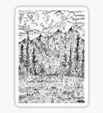Ink Drawing Mountain Landscape Sticker