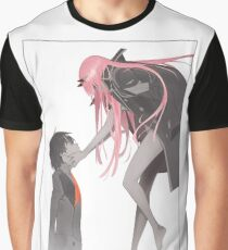Darling in the Franxx Hiro and Zero Two logo Graphic T-Shirt