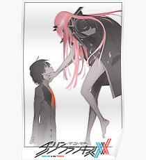 Darling in the Franxx Hiro and Zero Two logo Poster