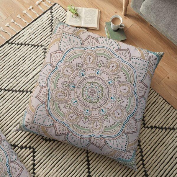 Neutral and Teal Mandala Floor Pillow