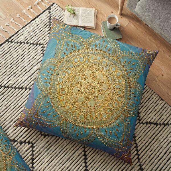 Golden Blues Mandala Floor Pillow