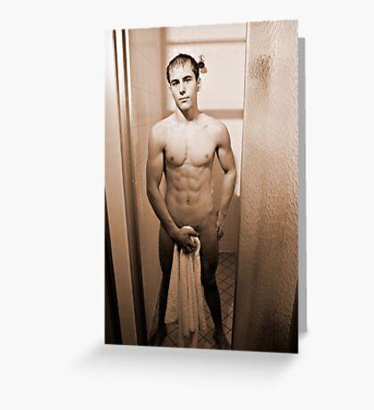 Shower Scene - Sepia Greeting Card