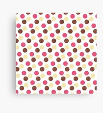 Pink, Brown and yellow dots pattern Canvas Print