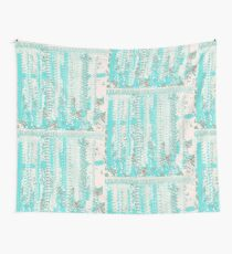 Aqua and Off-White Knit Texture Design Wall Tapestry