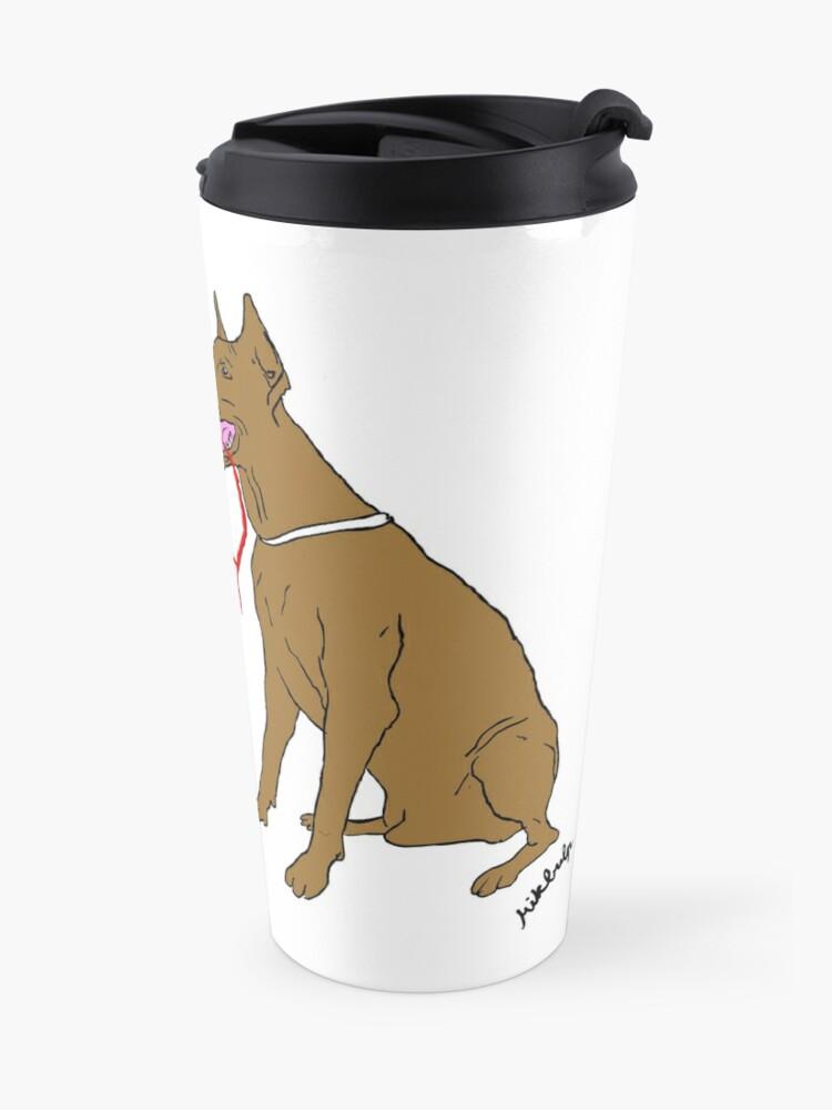 Alternate view of love & peace & dogs Travel Mug
