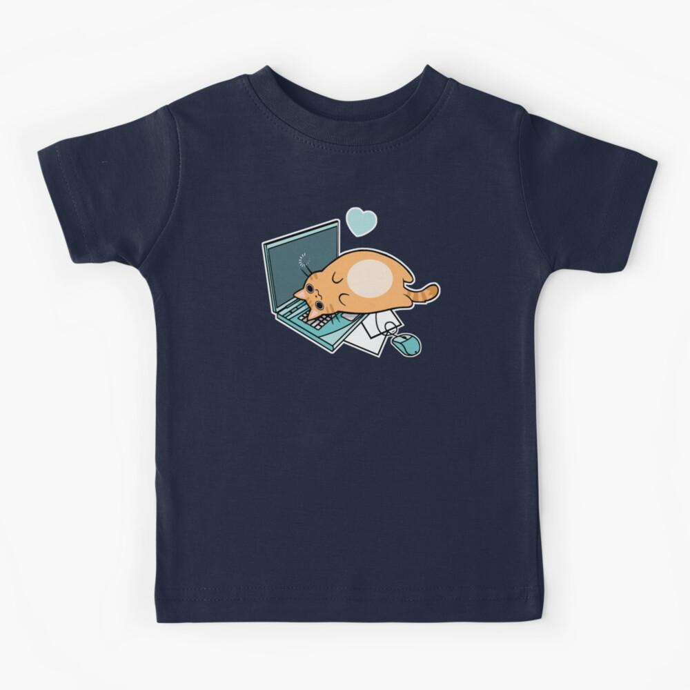 Nette Laptop-Katze Kinder T-Shirt