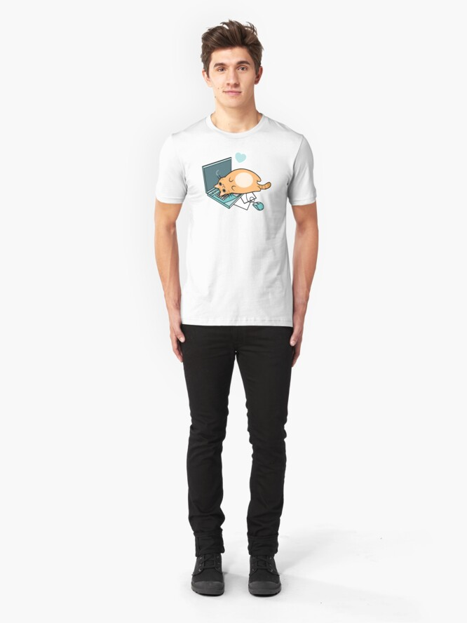 Alternative Ansicht von Nette Laptop-Katze Slim Fit T-Shirt