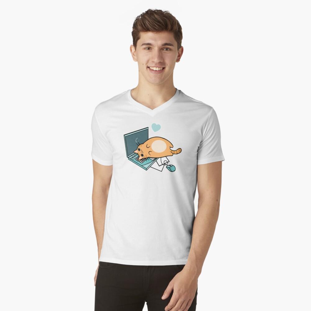 Nette Laptop-Katze T-Shirt mit V-Ausschnitt