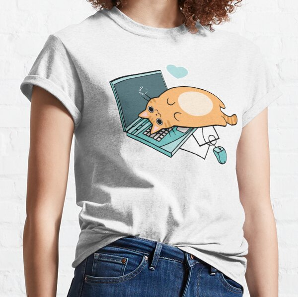 Cute Laptop Cat Classic T-Shirt