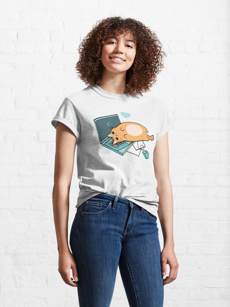 T-shirt classique ''Chat mignon pour ordinateur portable': autre vue