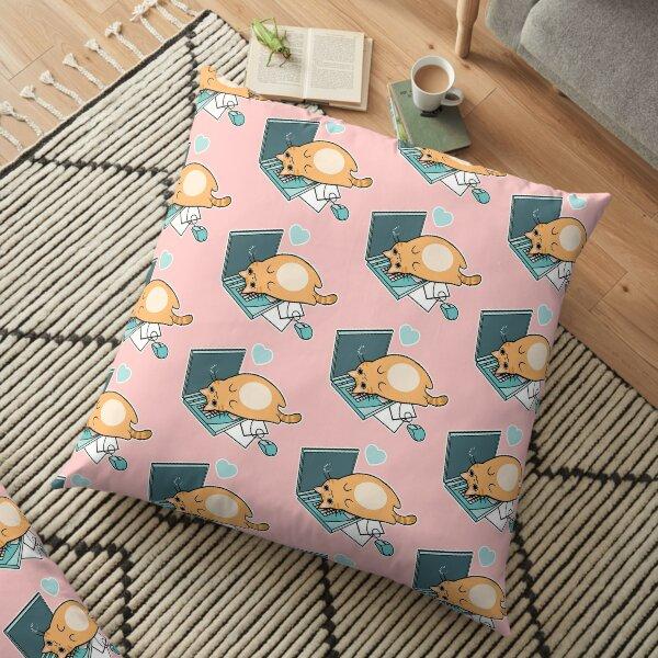 Cute Laptop Cat Floor Pillow