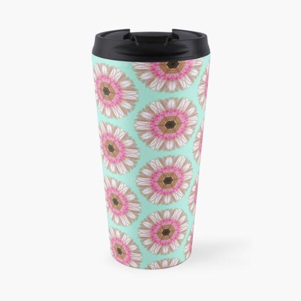Pink gerbera on duck egg Travel Mug