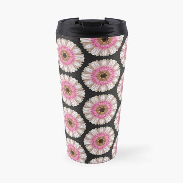 Pink gerbera on black Travel Mug