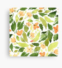 Orange flowers and green leaves Canvas Print