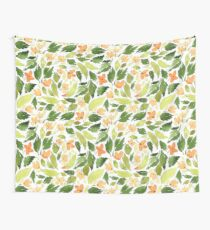 Orange flowers and green leaves Wall Tapestry