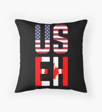 USEH America Canada Flag Funny American Canadian Throw Pillow