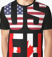 USEH America Canada Flag Funny American Canadian Graphic T-Shirt