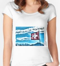 Swiss Flag And Mountains Women's Fitted Scoop T-Shirt