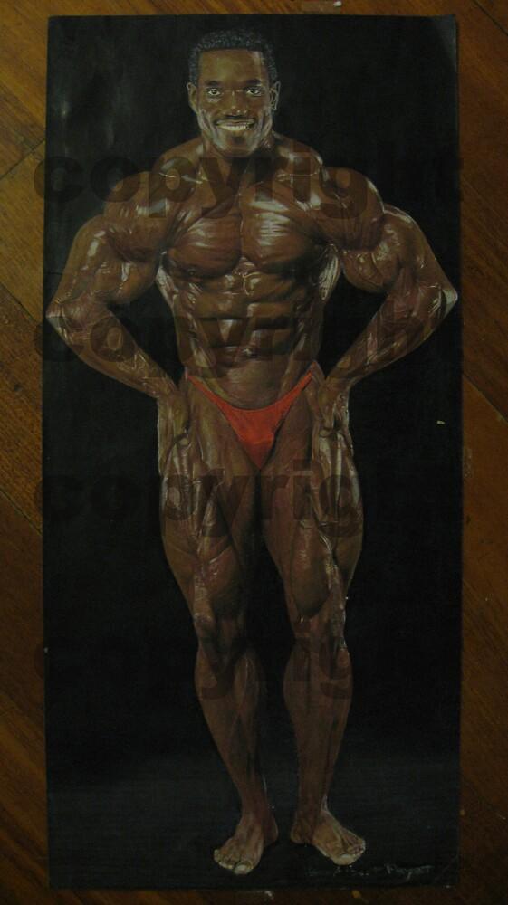 Drawing of Pro bodybuilder Flex Wheeler by AlbertPayet