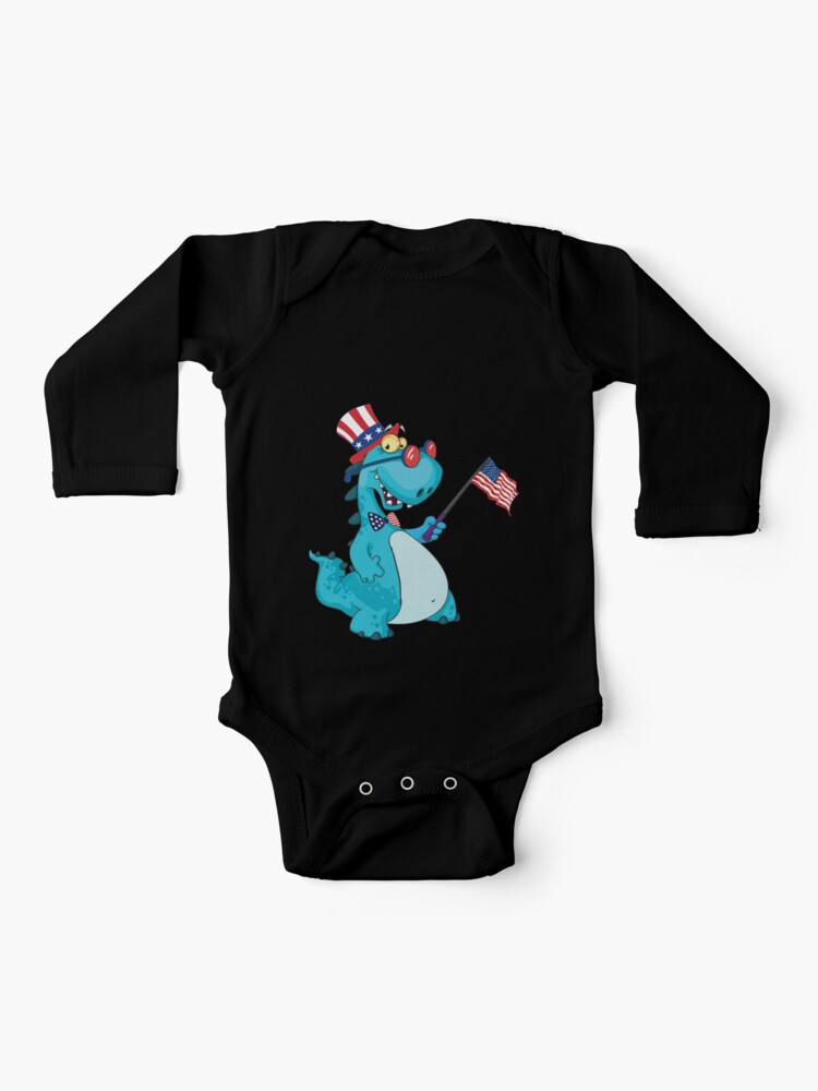 USA T-Rex Dinosaur American Flag 4th of July Toddler//Kids Long Sleeve T-Shirt