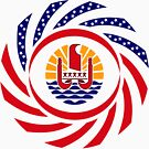 French Polynesian American Multinational Patriot Flag Series by Carbon-Fibre Media
