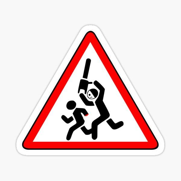 Caution Chainsaw Killer Sign Sticker