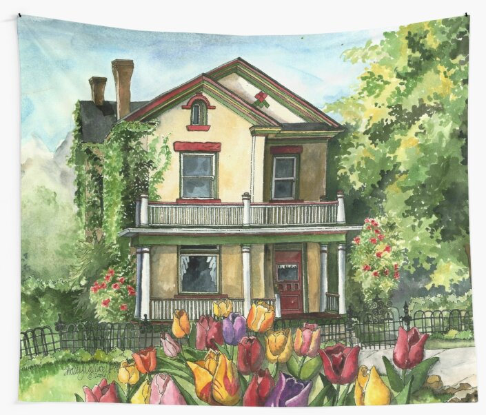 Farmhouse with Spring Tulips by ShelleyYlstArt