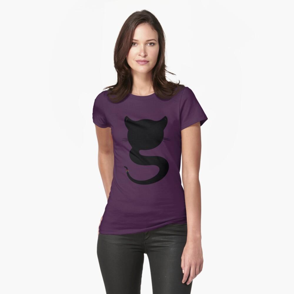 Black cat Womens T-Shirt Front
