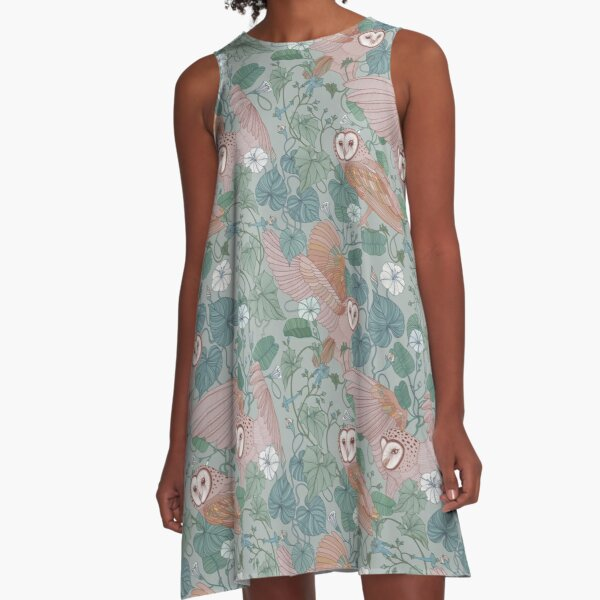 Pink barn owls A-Line Dress
