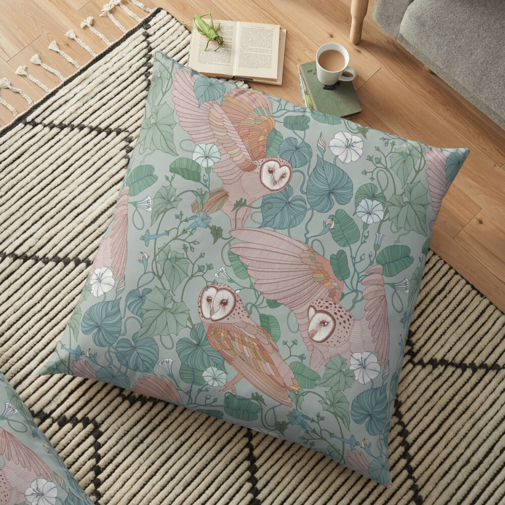 Pink barn owls Floor Pillow
