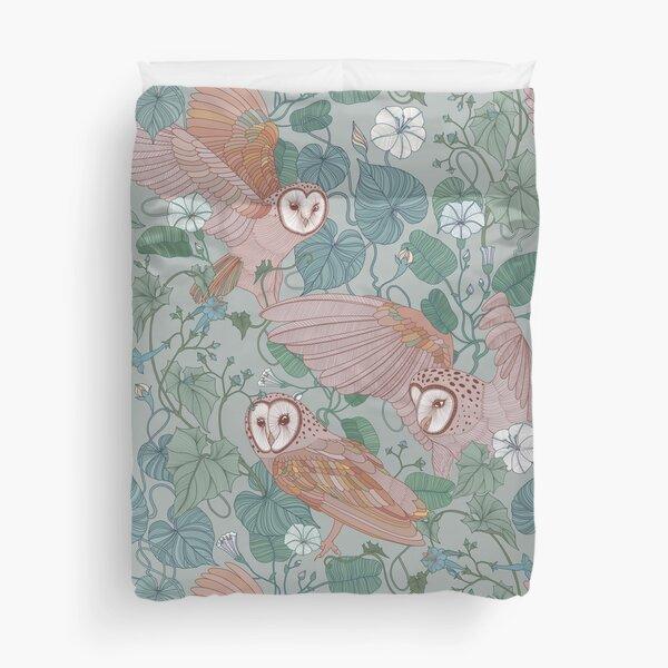 Pink barn owls Duvet Cover