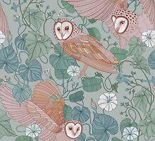 Pink barn owls by torysevas