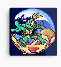 Surfing Pizza Metal Print
