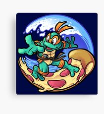 Surfing Pizza Canvas Print