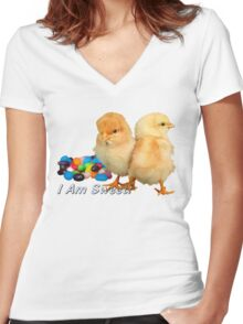 I Am Sweet! - Chicks & Jelly Beans Women's Fitted V-Neck T-Shirt