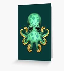Cute Green Baby Octopus Greeting Card