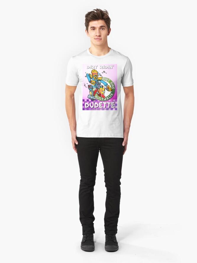 Alternate view of Dirt Ridin' Dudette - Pink  T-Shirt Slim Fit T-Shirt