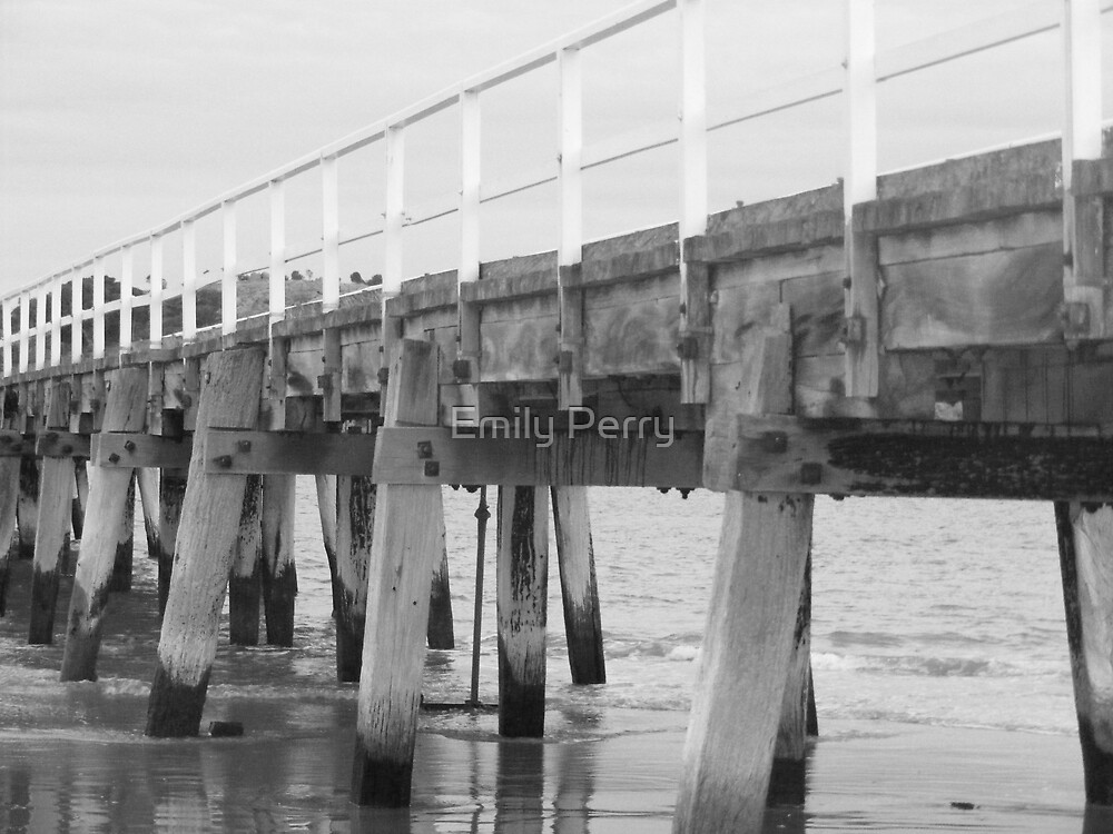 Victor Harbor Horsetram Bridge B&W by Emily Perry