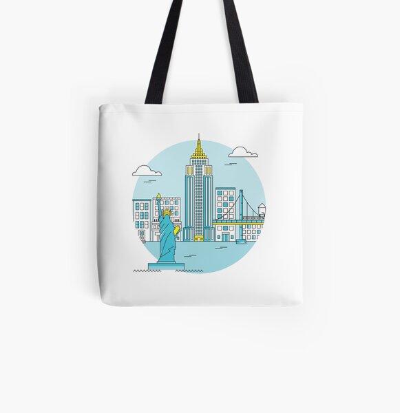 New York Skyline All Over Print Tote Bag