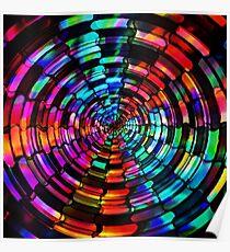 Neon Lights Rainbow Tunnel Poster